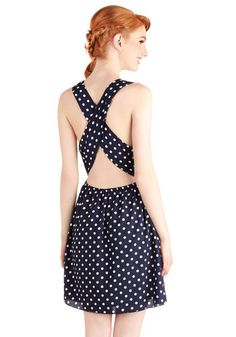 Spontaneously Styled Dress - Mid-length, Woven, Blue, White, Polka Dots, Backless, Casual, Festival, A-line, Racerback, Good, Nautical