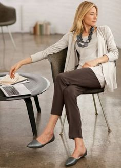 Stylish work outfits with flats