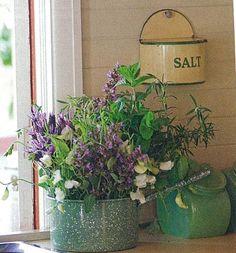 #Kitchen charm ... #salt cellar #wildflowers