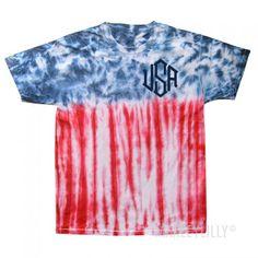 Monogrammed USA Flag Tie Dye T-Shirt   Marleylilly