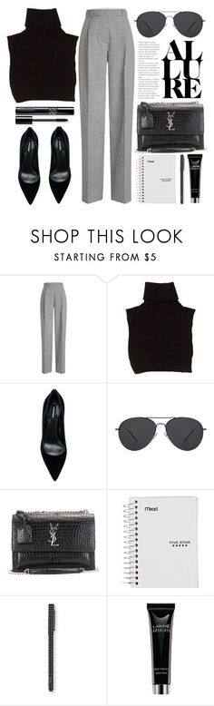 """Office Look"" by smartbuyglasses-uk ❤ liked on Polyvore featuring Victoria Beckham, Marc Jacobs, Dsquared2, Yves Saint Laurent, black and gray"