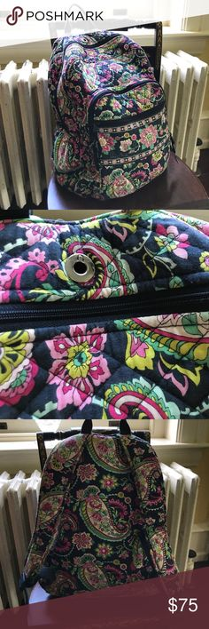 Vera Bradley Petal Paisley Campus Backpack Vera Bradley Petal Paisley Campus Backpack. Excellent condition! No damage! Has adjustable straps to fit any size:child or adult! Includes an earbud socket! Has 3 pockets and water bottle holders on the sides. Stock photos c/o Vera Bradley. It's a wonderful size! Not too big, not too small! Retails for $188. Absolutely beautiful! See matching lunch box! Vera Bradley Bags Backpacks