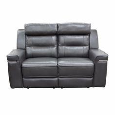 Duncan Dual Reclining Loveseat in Slate Grey Leatherette by Diamond Sofa