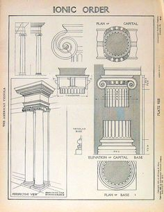 Architectural Drawings  Ionic Order  1904 Vintage Book Plate