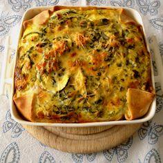 Hartige taart met courgette, spinazie, tomaat, ui, knoflook, ei en kaas. Dat is…