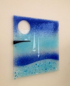 SAILING INTO PORT STUNNING PIECE OF FUSED GLASS  WALL ART 200mm SQUARE