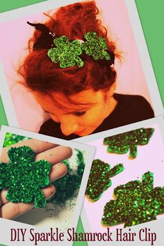 diy shamrock glitter hair clip saint patrick's day