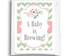 "25 ""Baby Is Brewing"" Tea Bag Favors, Custom Tea Bags, Customized Tea Favors for Baby Shower Tea Favors, Floral Baby Shower Tea Favors"