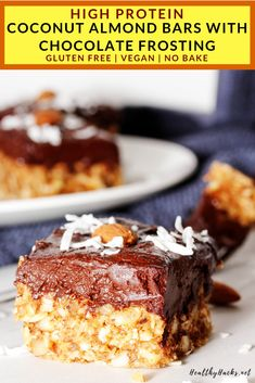 If you love Almond Joy Bars you need to make this high protein dessert! These Coconut Almond Bars are perfectly chewy and the Chocolate Frosting is ridiculously creamy. These cookie bars are full of healthy fats and are refined sugar free, too! High Protein Desserts, Healthy Protein Snacks, Healthy Vegan Desserts, Nutritious Snacks, Gluten Free Desserts, Dairy Free Recipes, Healthy Recipes, Healthy Fats, Keto Snacks