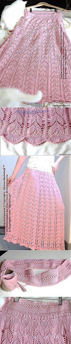 El patrón de la falda de punto hojas.