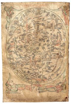World map made in 1190 by the German or Burgundian theologian Honorius Augustodunenesis, also known as Honorius of Autun.