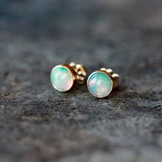 Opal Studs 14k Gold Earrings 6mm Solid Yellow Gold Genuine Gemstone Iridescent Post Elegant Birthstone