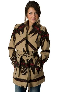 Montanaco® Women's Chocolate, Tan, Red & Green Native Print Belted Jacket