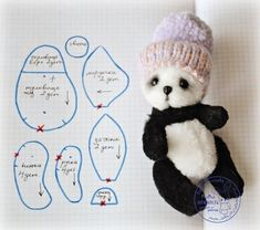 Sewing pattern for tiny panda Plushie Patterns, Doll Patterns, Sewing Patterns, Stuffed Animal Patterns, Diy Stuffed Animals, Stitch Toy, Sewing Crafts, Sewing Projects, Teddy Toys