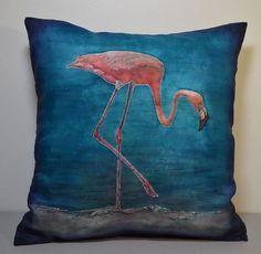 Art Cushion Cover, Hand Painted Silk Cover, Flamingo Cushion ...