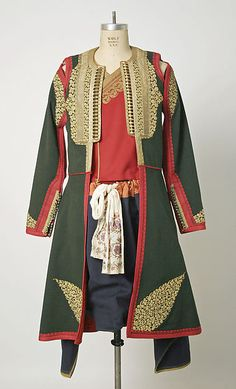 Ensemble Date: late 19th century Culture: Montenegrin Medium: wool, silk, metallic embroidery, linen Dimensions: Length at CB (a): 45 in. (114.3 cm) Length at CB (b): 20 1/2 in. (52.1 cm) Length (c): 31 1/2 in. (80 cm) Length (d, e): 12 1/2 in. (31.8 cm) Credit Line: Gift of Mrs. G. Macculloch Miller, 1976