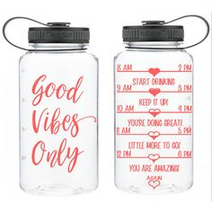 Water Intake Bottle Good Vibes Only Encouraging Water Bottle... (160 SEK) ❤ liked on Polyvore featuring home, kitchen & dining, drink & barware, drinkware, home & living, red and water bottles & vacuum flasks