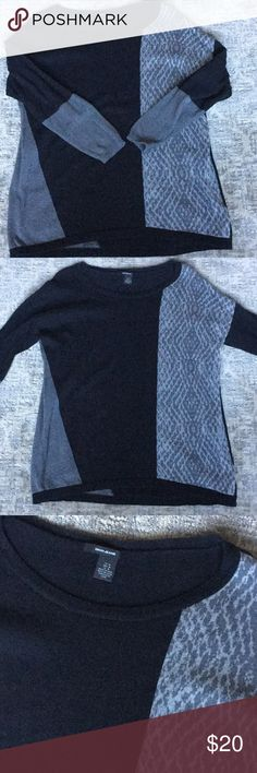 Scoop neck color block sweater Black and gray sweater hangs lower than waistline. Nice dressed up with black slacks or for casual. Dkny Sweaters Crew & Scoop Necks