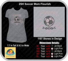 SOCCER MOM FLOURISH Short Sleeve Ladies or Unisex T Available Rhinestone many colors to choose from Top Quality Rinestones - pinned by pin4etsy.com
