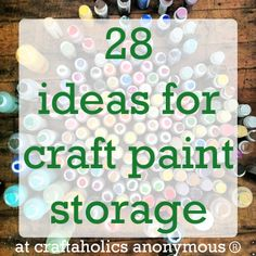 Lots of ideas on how to store craft paint. Really good ideas here. Great Organization of your different paints in your Craft Room Craft Paint Storage, Craft Organization, Organizing Tips, Creative Arts And Crafts, Fun Crafts, Diy Halloween Apothecary Jars, Small Craft Rooms, Card Making Supplies, Art Supplies