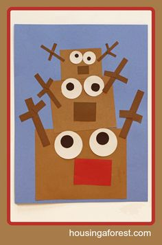 Simple Stacking Reindeer Craft: Have students use shapes to make the craft (Using shapes to build pictures, K.G.B.6)
