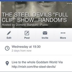 """The Steel Devils """"Full Clip"""" Show is back. And it's my birthday. Come join me and some VERY special guests. 8pm (GMT) this Wednesday. Be a listener not a loser #TheFullClipShow #TheSteelDevils #TheIncredibleDeeJayRandom #HipHop #Rap #Turntablism #Birthday #Records #Scratching #Beats #Funk #45 #Fuckery #DJ #DJLife #Family #Soul #Breaks #Mixlr #Broadcast #Live #Legends #BBoyStyle #BeAListenerNotALoser by mrdeejayrandom http://ift.tt/1HNGVsC"""