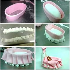 sandytza: How to make a baby cot fondant (sugar paste) Baby Shower Cakes, Gateau Baby Shower, Fondant Toppers, Fondant Cakes, Fondant Bow, Cake Decorating Techniques, Cake Decorating Tutorials, Cookie Decorating, Cake Topper Tutorial
