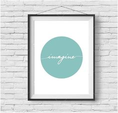 "Mint Print Mint Wall Art Minimalist Print Light Turquoise Print ""Imagine"" Poster Motivational Print Inspirational Print Motivational Poster"