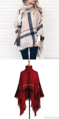 Cheap Fashion Knitting Medium Long High Collar Tassel Cloak Shawl Loose Large Sweater For Big Sale! Girls Sweaters, Women's Sweaters, Cardigans For Women, Cardigan Fashion, Knit Fashion, Sweater Scarf, Winter Sweaters, Medium Long, Cloak