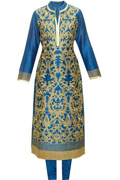 Electric blue dori embroidered kurta set available only at Pernia's Pop-Up Shop.