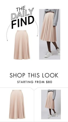 """The Daily Find: Pleated Mini Skirt"" by polyvore-editorial ❤ liked on Polyvore featuring Topshop, women's clothing, women, female, woman, misses, juniors and DailyFind"