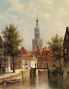 A capriccio view of Alkmaar in summer by Pieter Gerard Vertin