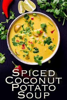 This spiced coconut and potato soup is a comforting yet fresh vegan soup. Ideal for a casual supper with friends or for a light vegetarian lunch with the girls. Packed with flavor this is quick to cook and tastes amazing #vegan #soup