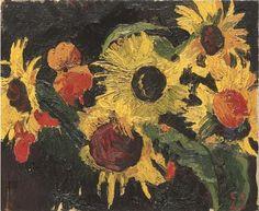 Cuno Amiet (Swiss, 1868-1961), Sonnenblumen, 1946. Oil on canvas, 38 x 46 cm.