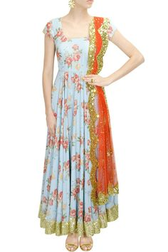 Blue floral print and peach pink embroidered anarkali set available only at Pernia's Pop-Up Shop.