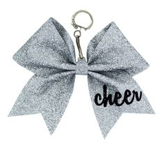 This cute keychain gift will look perfect on your cheer backpack! Glitter Bow Keychain with Glitter Black Cheer on Tail