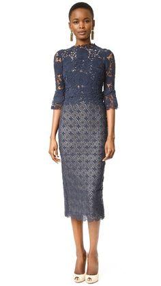 Monique Lhuillier Long Sleeve Combo Sheath Dress