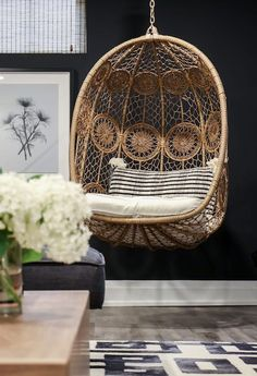 See how this designer created a chic and cozy basement living room for a family of five is part of Hanging egg chair Interior designer Karin Bennett knows how to create a functional space that doesn - Cozy Basement, Basement Living Rooms, Living Room Chairs, Dining Chairs, Desk Chairs, Office Chairs, Dining Room, Study Chairs, Pink Desk Chair