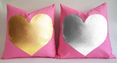 Sukan / gold heart pillow - silver heart pillow -  Pink Pillow cases - personalized heart pillow - Valentine Day Gift - 16 18 20 22 24 on Etsy, $35.60