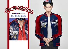 Louis Vuitton Silk Bomber Jacket • New mesh / EA mesh edit • Category: top (men) • Age: teen / young adult / adult / elder • 8 swatches • Note: not all of the swatches exist in real life Download: SimFileShare
