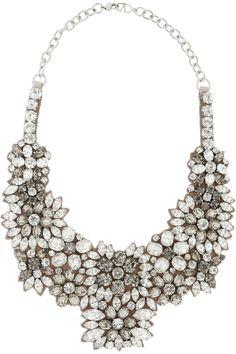 Valentino|Romantic Flowers crystal and satin bib necklace|NET-A-PORTER.COM