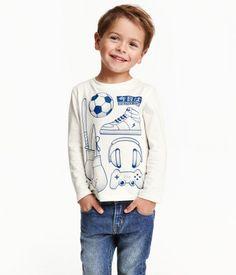 Langarmshirt mit Druck | Weiß | Kinder | H&M DE