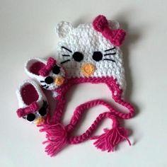 Crochet Baby Hello Kitty Beanie and Shoes Set by JackAndJillBaby, $35.00