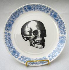 Vintage Blue Skull Plate vintage wall plate home decor altered vintage Royal Blue. $28.00, via Etsy.