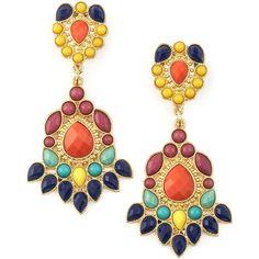 Women's Tribal Earrings - Panacea (1.855 RUB) ❤ liked on Polyvore featuring jewelry, earrings, multi color jewelry, multi color earrings, golden jewelry, multi colored earrings and cabochon jewelry