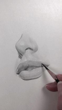 Drawing Lips Videos And Nose - Drawing Bio Arte, Pencil Art Drawings, Art Drawings Sketches, Realistic Drawings, Drawings Of Faces, Indie Drawings, Hand Pencil Drawing, Graphite Drawings, Nose Drawing