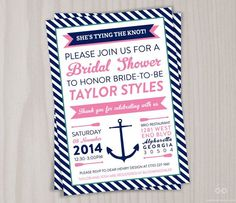 pinterest nautical bridal shower invitations | Nautical Invitation