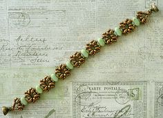 Linda's Crafty Inspirations: Bracelet of the Day: Lattice Gates Variation - Jade