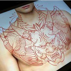 No automatic alt text available. Chest Tattoo Stencils, Tattoo Stencil Designs, Sketch Tattoo Design, Oni Mask Tattoo, Full Chest Tattoos, Flesh Tattoo, Samurai, Asian Tattoos, Japan Tattoo