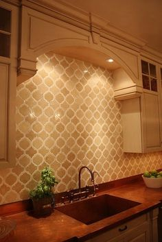 Gorgeous tile backsplash by christine - Love the Moroccan design and earthtone color.